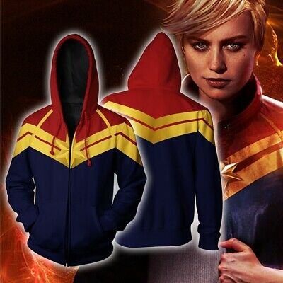 2019 Captain Marvel Unisex Hoodie Sweatshirt Cosplay Coat Zipper Jacket Costume