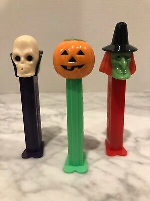 Lot Of 3 HALLOWEEN PEZ DISPENSERS Witch Pumpkin Skeleton Skull