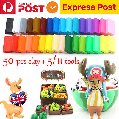 50x Malleable Polymer Clay Modelling Plasticine with Carving Tools Children DIY