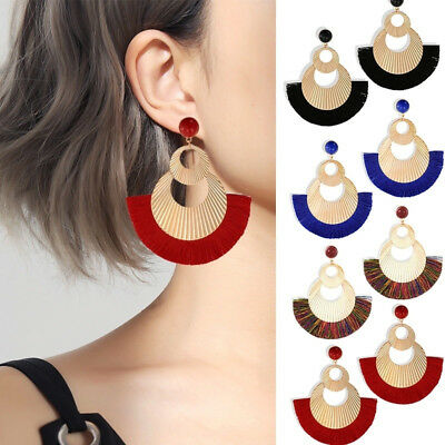 Women Bohemian Ethnic Fan Tassel Dangle Hook Drop Boho Earring Jewelry B