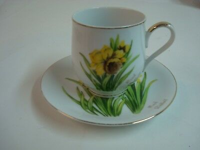 Beautiful Vintage Cup and Saucer, Norcrest, March Daffodil