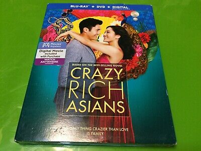 Crazy Rich Asians (Blu-ray + DVD + Digital) BRAND NEW w/Slipcover FREE S/H !!