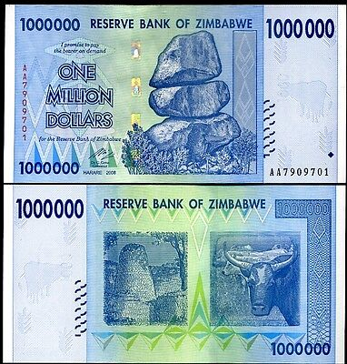 Zimbabwe 1 Million Dollars 2008 Banknote UNC AA+ (Zm1M)
