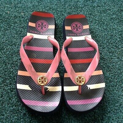 b1b0a8da2 TORY BURCH NAVY PINK Striped Flip Flops SZ 7 -  1.29