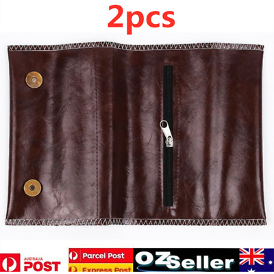 2x Cigarette Tobacco Pouch Leather Bag Wallet Case Holder Filter Rolling Paper
