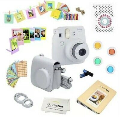 Fujifilm Instax Mini 9 Instant Film Camera with Deluxe Accessories - Smoky White