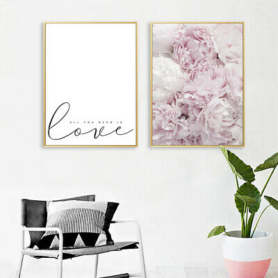 Peony Flower Canvas Poster Nordic Wall Art LOVE Print Modern Home Decoration