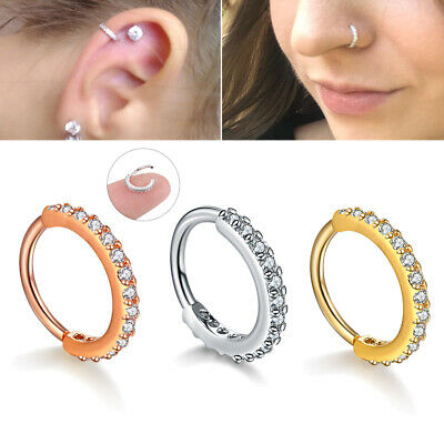 1PC Nose Septum Ring Nose Ear Cartilage Tragus Helix Piercing Daith Clicker Ring