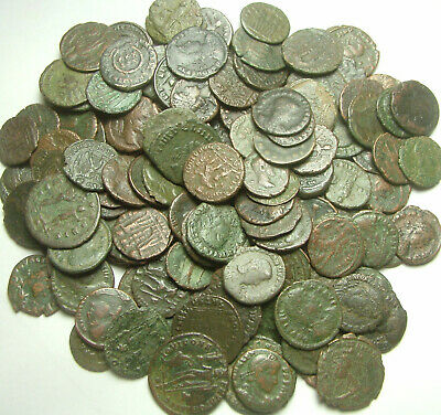 Random lot of 4 original Ancient Roman crusty coins not cleaned you identifiy
