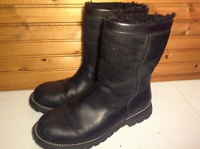 f270bd5bddc UGG AUSTRALIA BROOKS 5381 Womens Sheepskin Black Leather Boots Size 10
