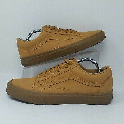 2a4a62f40041af VANS AUTHENTIC OLD Skool (Men s Size 9) Leather Skate Sneaker Shoes Mustard Tan  -  39.99