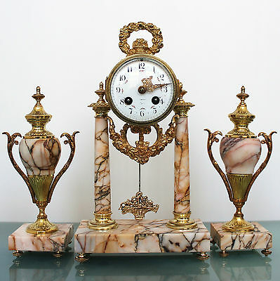 ANTIQUE French JAPY FRERES 1855 ORMOLU Mantel Clock SET Marble GILDED Bell CHIME