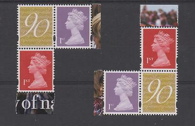 Gb Machin 2 New 1St Nvi Ex 90Th Birthday U3156/U3747 (Either Position) Each 3.50