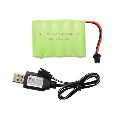 AA NI-MH 4.8V/6.0V/7.2V 2400mAh Battery Spare Pack+ USB Charger Cable for Toys