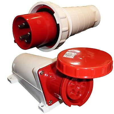 63A 5 Pin Plug and Socket Waterproof IP67 CEE Connector 63 Amp 3 Phase 415v Red
