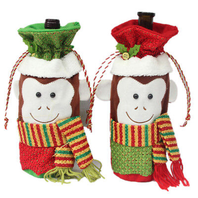 Merry Christmas Wine Bottle Bag Monkey Cover Table Gift Wrap Home Party Decor LG