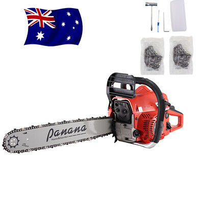 "58CC Petrol Chainsaw Commercial 20"" Bar Prune Garden Tree Saw Pruner + 2x Chain"