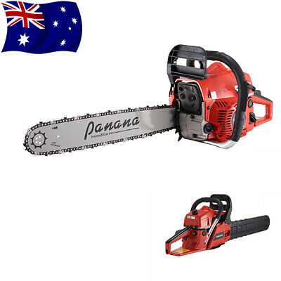 "58CC Petrol Chainsaw Commercial 20"" Bar Gardening Tree Saw Pruner Kit + 2x Chain"