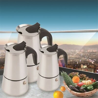 2/4/6-Cup Percolator Stove Top Coffee Maker Moka Espresso Latte Stainless Pot QX