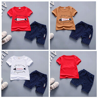 AU New Kid Baby Boys Short Fish Outfits Tops T-shirt Pants Trousers Clothes Set