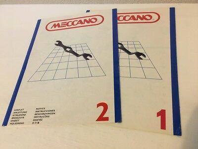 Vintage Meccano INstruction manuals fort Set 1 + 2 + NEW LOOK Meccano leaflet