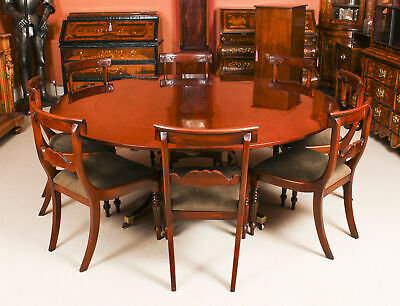 Vintage  6ft Diam Mahogany Jupe Dining Table, Leaf Cabinet & 8 Chairs