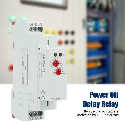 NEW AC 220V GRT8-B1 Mini Power Off Delay Time Relay 35mm DIN Type 0.1s-10 days