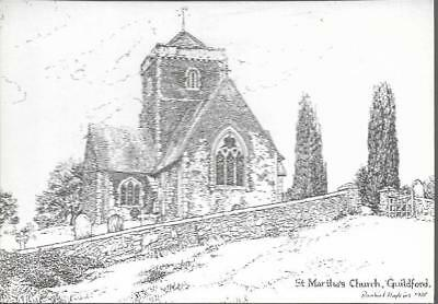 Guildford, Surrey - St. Martin's Church - art card c.1970s
