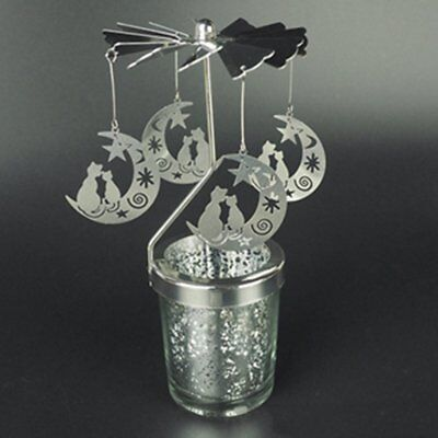 Cat On The Moon Romantic Rotation Candlestick Windmill Candle Holders NVT
