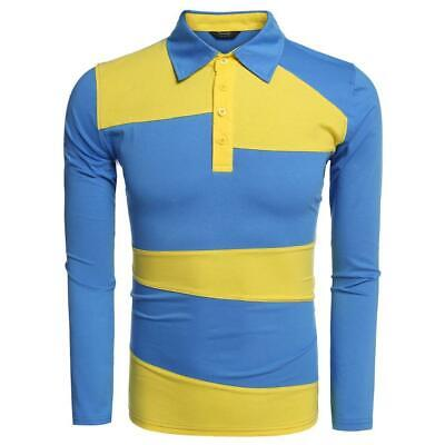 COOFANDY Men Fashion Casual Turn Down Collar Long Sleeve Contrast Color WST 02