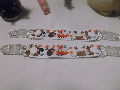 pair of mitten glove clips baby girl boy child fox squirrel hedgehog woodland