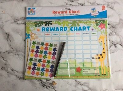 6 x Reward Charts Childrens Jungle Themed Chore Charts with Stickers & Pen