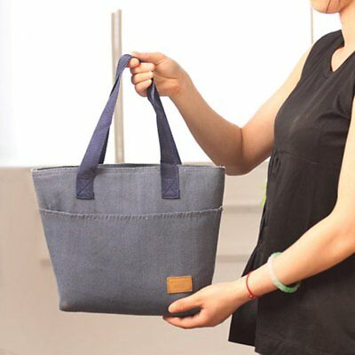 Large Capacity Insulated Hand Bag Durable Canvas Thermal Lunch Bag for Women @1