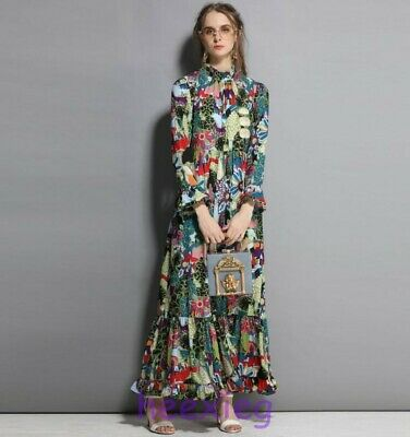 9f4a26e0d3 Runway Occident Womens Long Sleeve Vintage Floral Print Swing Maxi Dresses  Size