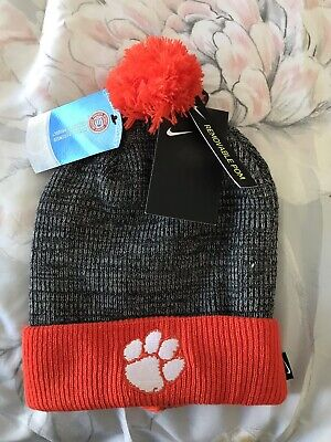 019928ca5d2 NIKE Clemson Tigers Cuffed Knit Hat Beanie Cap with Removable Pom Adult NEW