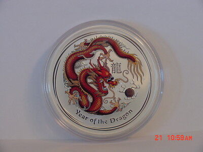 2012 Australia Lunar Year Of The Dragon Colored $1 1Oz Silver Perth Mint