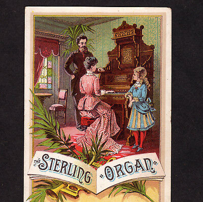 Sterling Organ 1800's Parlor Music Recital old Victorian Advertising Trade Card