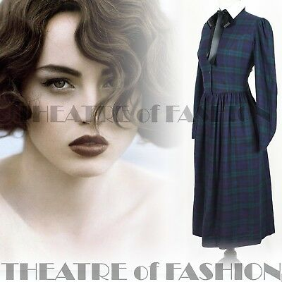DRESS TARTAN VICTORIAN VINTAGE LAURA ASHLEY MISTRESS EDWARDIAN 40s 50s PLAID