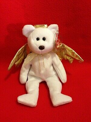 "6149d9debb1 Ty Beanie Baby HALO II 8"" Angel Bear Toy Collectible Rare Retired Mint!"