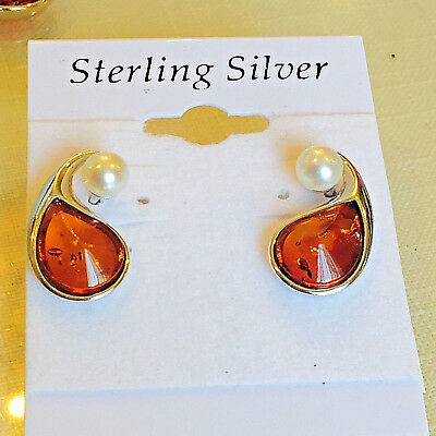 100% Genuine Russian Baltic Amber Earring Vintage Egg Yolk Butterscotch Polish