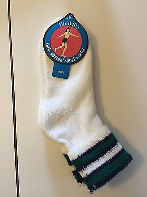PLUSH terry turn cuff action sport socks 45% creslan vtg NWT girls size 6-8.5