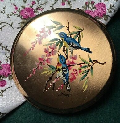 Vintage Collectable 50s Round Stratton Signed Wagg Floral Vanity powder Compact