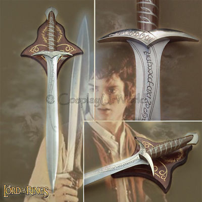 LOTR Lord of Rings Sting Frodo Sword Medieval Bilbo Baggins Hobbit w Wall Plaque
