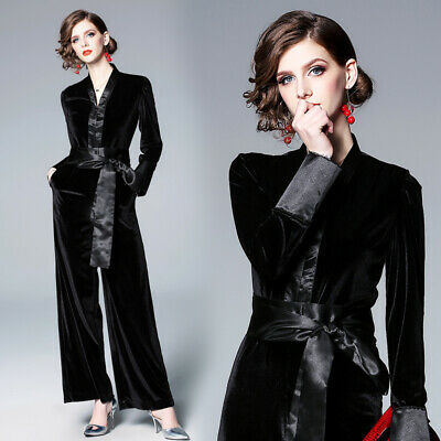 Spring Womens Fashion V Neck Wide Leg Jumpsuit Palazzo Formal Business Zsell