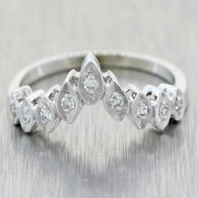 1930's Antique Art Deco 14K White Gold .20ctw Diamond Tiara Wedding Band Ring
