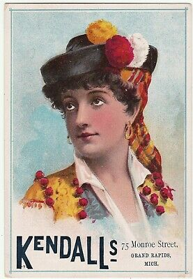 RARE LG Victorian Trade Card Kendalls Millinery Beauty - 1880 Grand Rapids MI
