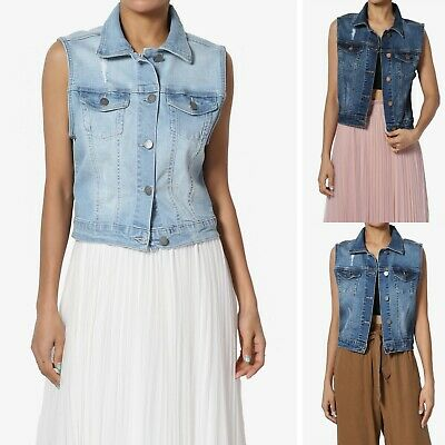 bad6042636c60 TheMogan S~3X Vintage Distressed Wash Trucker Denim Vest Sleeveless Jean  Jacket