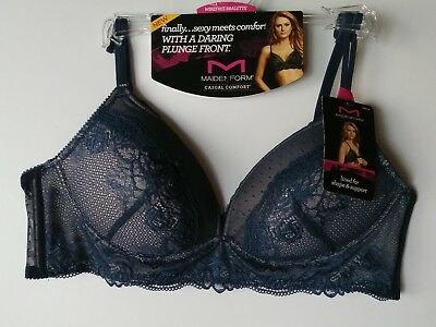 1a11a3cabf703 Maidenform BRA 38-B STY  DM1178 Casual Comfort Wirefree Lace Bralette Navy  Gloss