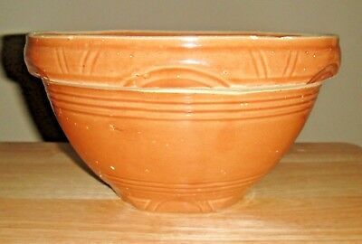 Vintage Watt Yellow Ware #8 Bowl, Pottery,  Arches Pattern, Pumpkin Color