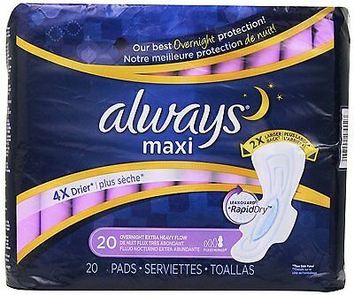 Always Extra Heavy Overnight Maxi Pads with Flexi-Wings - 20 Count New